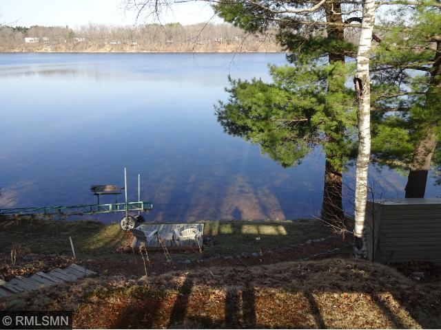 view from the cabin with easy steps to the lake, fish for Northern Pike in 115 acre North White Ash Lake.