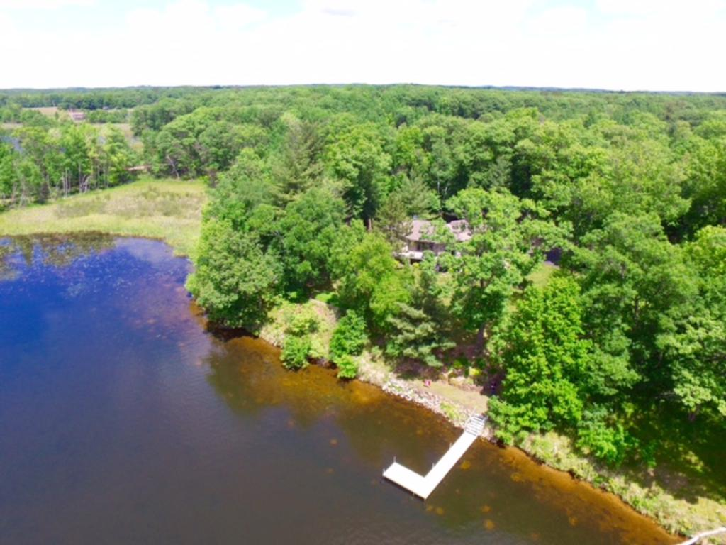 Aerial view of Lookout lake and the 526' of shoreline, the lake drops off gradually and has a sand shoreline.