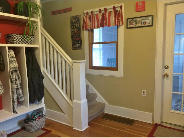 The stairway leading upstairs is located just inside the back porch off the kitchen.  Upstairs you will find 3 bedrooms and a full bath.