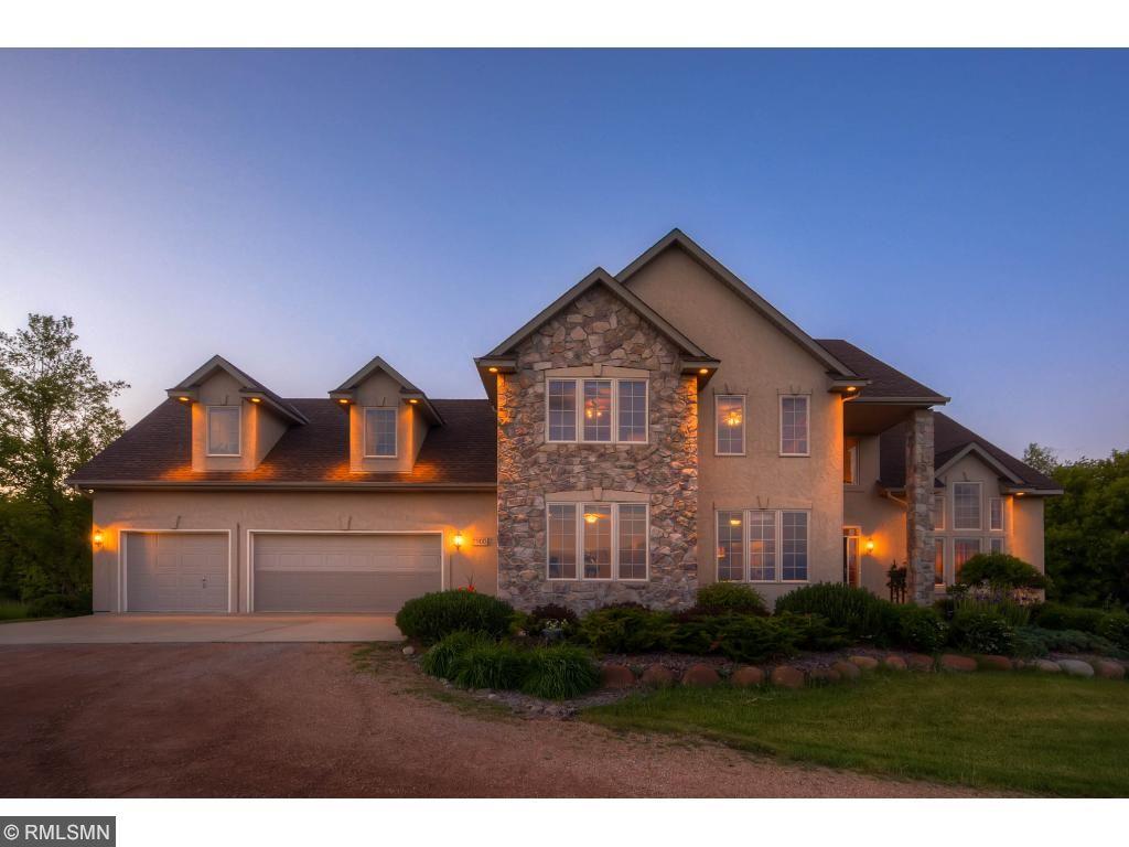 Stunning lighting showcases this home.